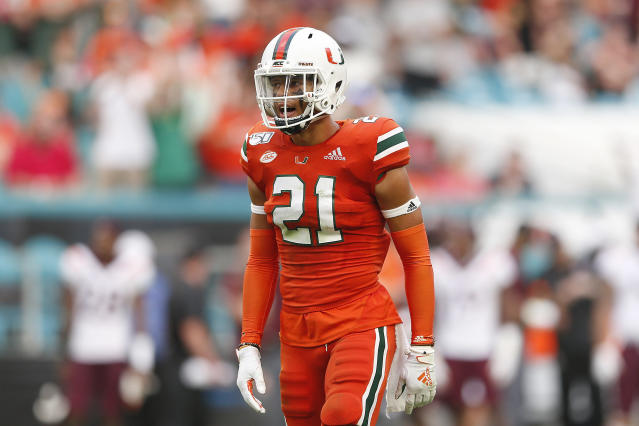 "Miami safety <a class=""link rapid-noclick-resp"" href=""/ncaaf/players/281651/"" data-ylk=""slk:Bubba Bolden"">Bubba Bolden</a> suffered a season-ending injury in the win over Florida State. (Photo by Michael Reaves/Getty Images)"