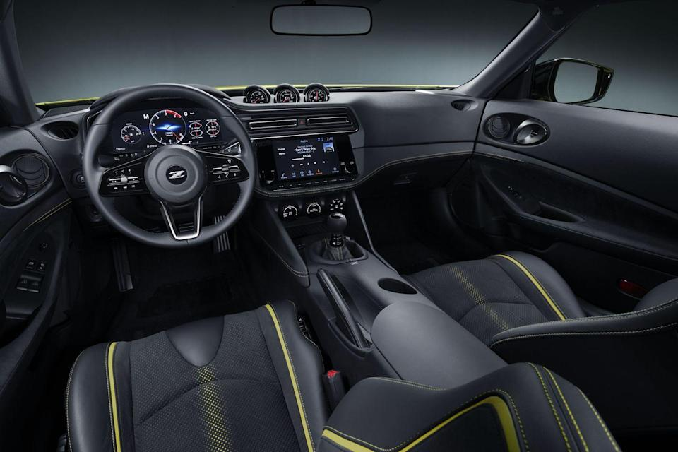 <p>As for powertrain, the Z Proto uses Infiniti's familiar 3.0-liter twin-turbo V-6, sending power to—get this—a real, actual six-speed manual transmission (an automatic option is in development, in case you can't drive stick).</p>