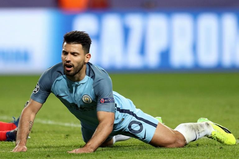 Manchester City's Sergio Aguero reacts to a missed goal opportunity during their UEFA Champions League match against Monaco, at the Stade Louis II in Monaco, on March 15, 2017