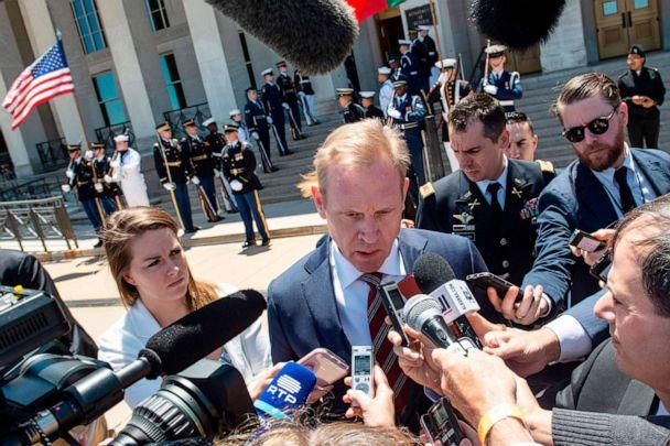 PHOTO: Acting U.S. Secretary of Defense Patrick Shanahan speaks to reporters before his meeting with his Portuguese counterpart Joao Gomes Cravinho at the Pentagon in Washington, D.C., on June 14, 2019. (Eric Baradat/AFP/Getty Images)