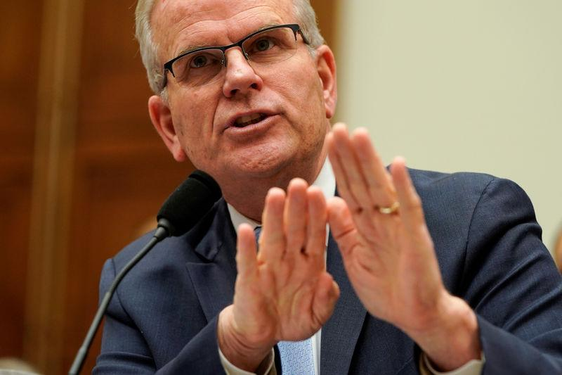 """Daniel Elwell, acting administrator of the Federal Aviation Administration, testifies before a hearing on """"Status of the Boeing 737 MAX"""" in Washington"""