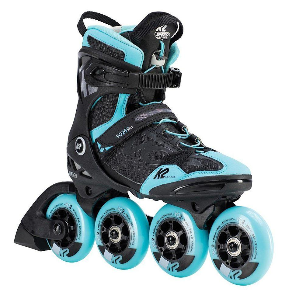 "<p><strong>K2</strong></p><p>peterglenn.com</p><p><strong>$259.95</strong></p><p><a href=""https://www.peterglenn.com/product/k2-vo2-s-90-pro-inline-skate-womens"" rel=""nofollow noopener"" target=""_blank"" data-ylk=""slk:Shop Now"" class=""link rapid-noclick-resp"">Shop Now</a></p><p>These fancy skates have all the bells and whistles that an athletic blader wants. Their smaller front wheels are ideal for acceleration and maneuverability, while their larger rear wheels help you hit top-end speed. They come with a speedy, elastic lace-up system and removable brakes. Plus, they're both super-comfy and extremely well-ventilated. </p><p><strong>Rave review:</strong> ""Awesome skates! They took some time getting used to, but much quicker than my previous pair. They fit the exact size that they indicate on the shoe."" <em>—""Shreddy McShred Pants"", peterglenn.com</em></p>"