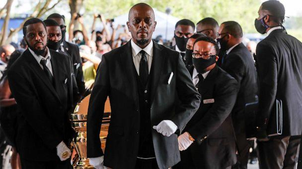 PHOTO: Pallbearers bring the coffin into The Fountain of Praise church in Houston for the funeral for George Floyd on June 9, 2020. (Godofredo A. Vasquez/Houston Chronicle via AP)