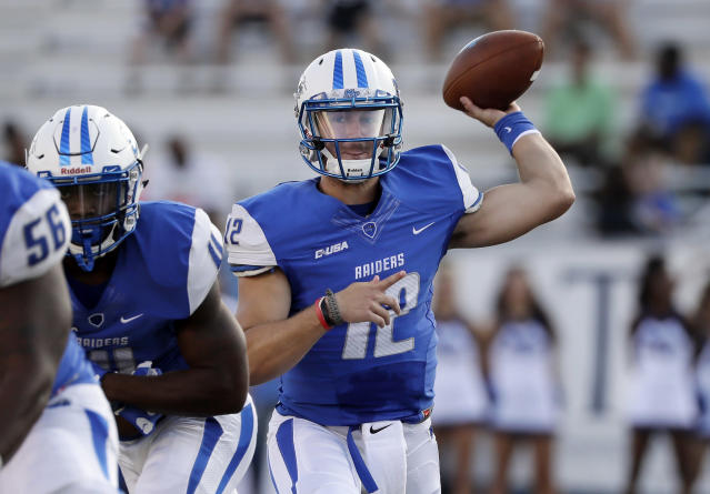 Can Brent Stockstill (12) and Middle Tennessee challenge Western Kentucky in the C-USA East? (AP Photo/Mark Humphrey, File)