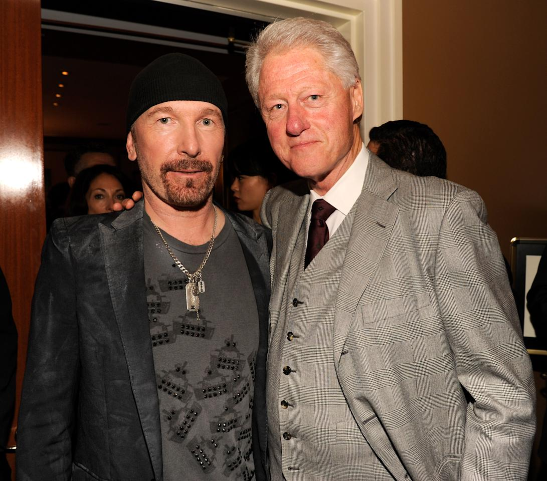 The Edge of U2 and President Bill Clinton backstage at 'Spider-Man Turn Off The Dark' Broadway opening night at Foxwoods Theatre on June 14, 2011 in New York City. <br><br>(Photo by Kevin Mazur/WireImage)