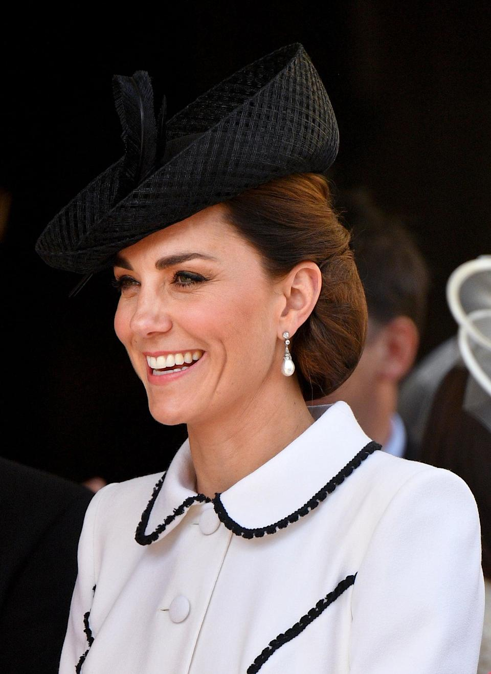 "<p>Look closely: the duchess utilized her sneaky <a href=""https://www.popsugar.com/beauty/Kate-Middleton-Wears-Hairnets-44566091"" class=""link rapid-noclick-resp"" rel=""nofollow noopener"" target=""_blank"" data-ylk=""slk:hairnet trick"">hairnet trick</a> to hold her simple updo in place for the <a href=""https://www.popsugar.com/celebrity/Royal-Family-Order-Garter-2019-46276983"" class=""link rapid-noclick-resp"" rel=""nofollow noopener"" target=""_blank"" data-ylk=""slk:Order of the Garter service"">Order of the Garter service</a>.</p>"
