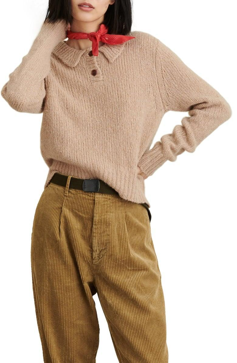 <p>This <span>Alex Mill Wool & Cashmere Blend Henley Sweater</span> ($165) is cozy and soft.</p>