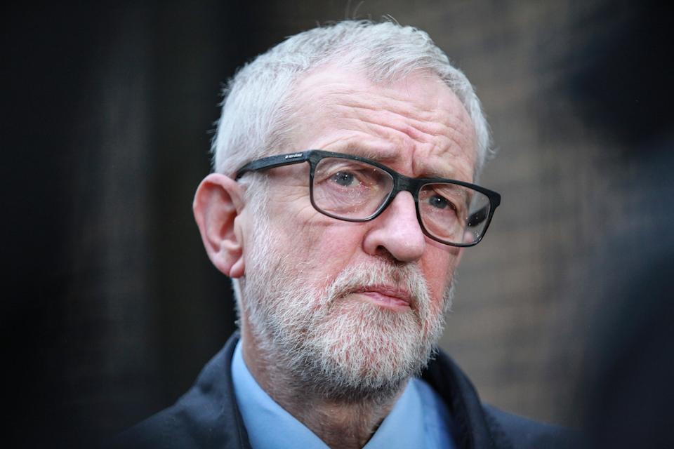 Labour party leader Jeremy Corbyn speaks to the media on the coronavirus pandemic outside the Finsbury Park Jobcentre, north London. (Photo by Hollie Adams/PA Images via Getty Images)