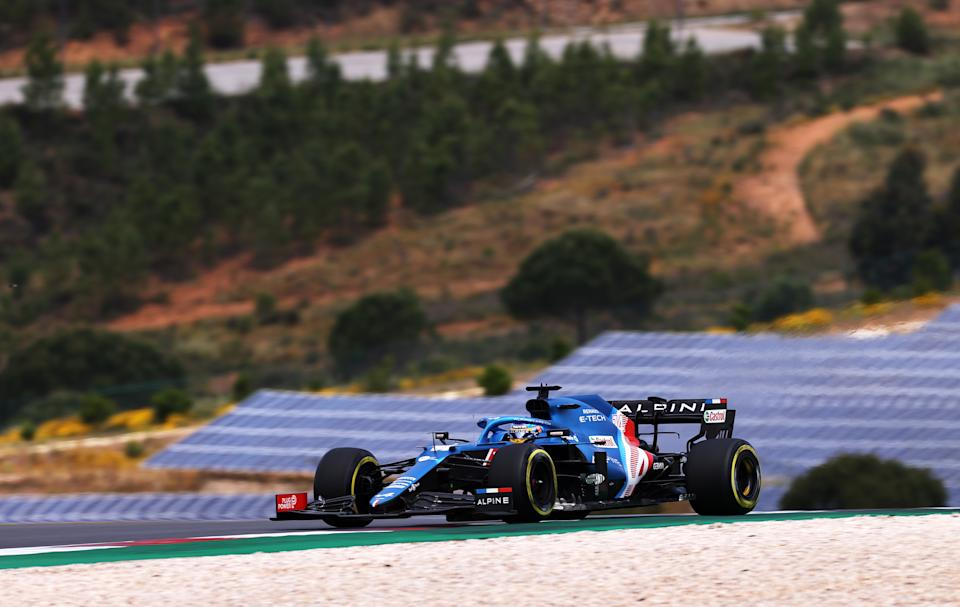PORTIMAO, PORTUGAL - MAY 01: Fernando Alonso of Spain driving the (14) Alpine A521 Renault on track during final practice for the F1 Grand Prix of Portugal at Autodromo Internacional Do Algarve on May 01, 2021 in Portimao, Portugal. (Photo by Lars Baron/Getty Images)
