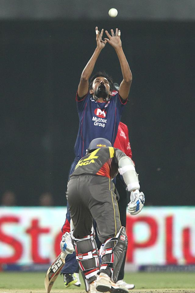 Shahbaz Nadeem of Delhi Daredevils gets under the ball to take the return catch to get Parthiv Patel of Sunrisers Hyderabad wicket during match 14 of the Pepsi Indian Premier League between The Delhi Daredevils and the Sunrisers Hyderabad held at the Feroz Shah Kotla Stadium, Delhi on the 12th April 2013..Photo by Shaun Roy-IPL-SPORTZPICS ..Use of this image is subject to the terms and conditions as outlined by the BCCI. These terms can be found by following this link:..https://ec.yimg.com/ec?url=http%3a%2f%2fwww.sportzpics.co.za%2fimage%2fI0000SoRagM2cIEc&t=1505913398&sig=muCz_HCwS5HKF3rS2ncPuA--~D