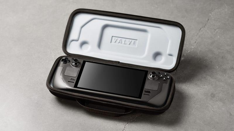 The new Steam Deck handheld in a Valve-branded case.