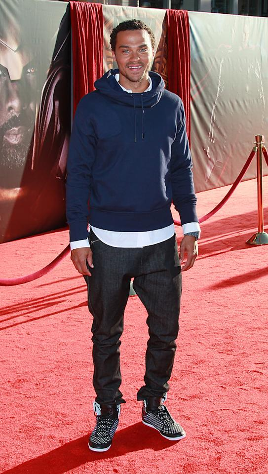 "<a href=""http://movies.yahoo.com/movie/contributor/1810036225"">Jesse Williams</a> attends the Los Angeles premiere of <a href=""http://movies.yahoo.com/movie/1810026342/info"">Thor</a> on May 2, 2011."