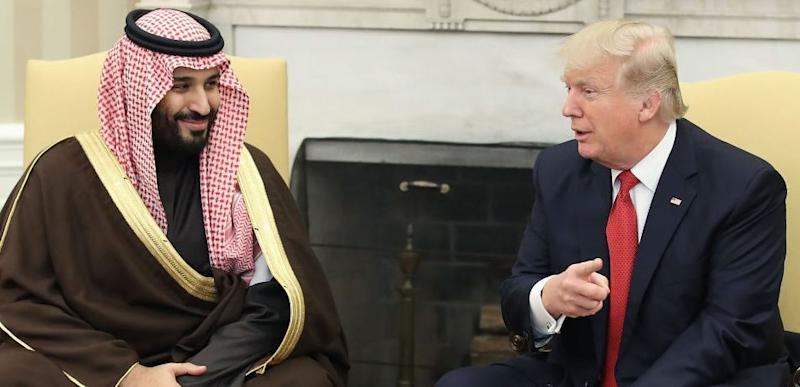 U.S. President Donald Trump (R) meets with Mohammed bin Salman, Deputy Crown Prince and Minister of Defense of the Kingdom of Saudi Arabia, in the Oval Office at the White House, March 14, 2017 in Washington, DC. (