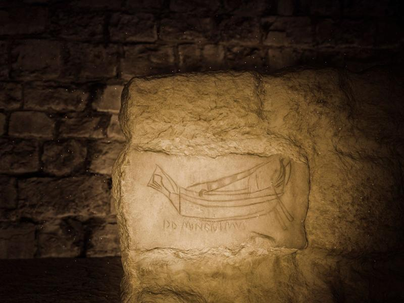 """Underneath the Church of the Holy Sepulchre, archaeologists discovered ancient graffiti: a ship drawn on a stone with an inscription in Latin, meaning """"Oh Lord, we have come"""". Dated to over 1700 years ago, it suggests that Christians worshiped here even before the church was built"""