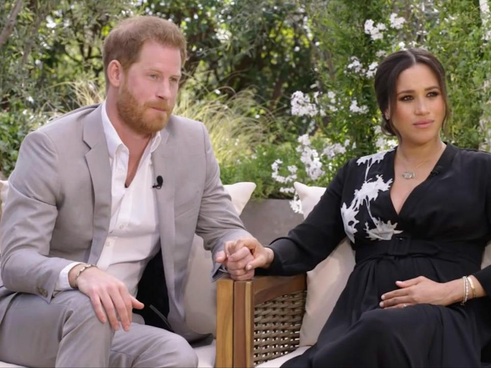 <p>Meghan and Harry's interview with Oprah will air in the US on Sunday and in the UK on Monday</p> (CBS)
