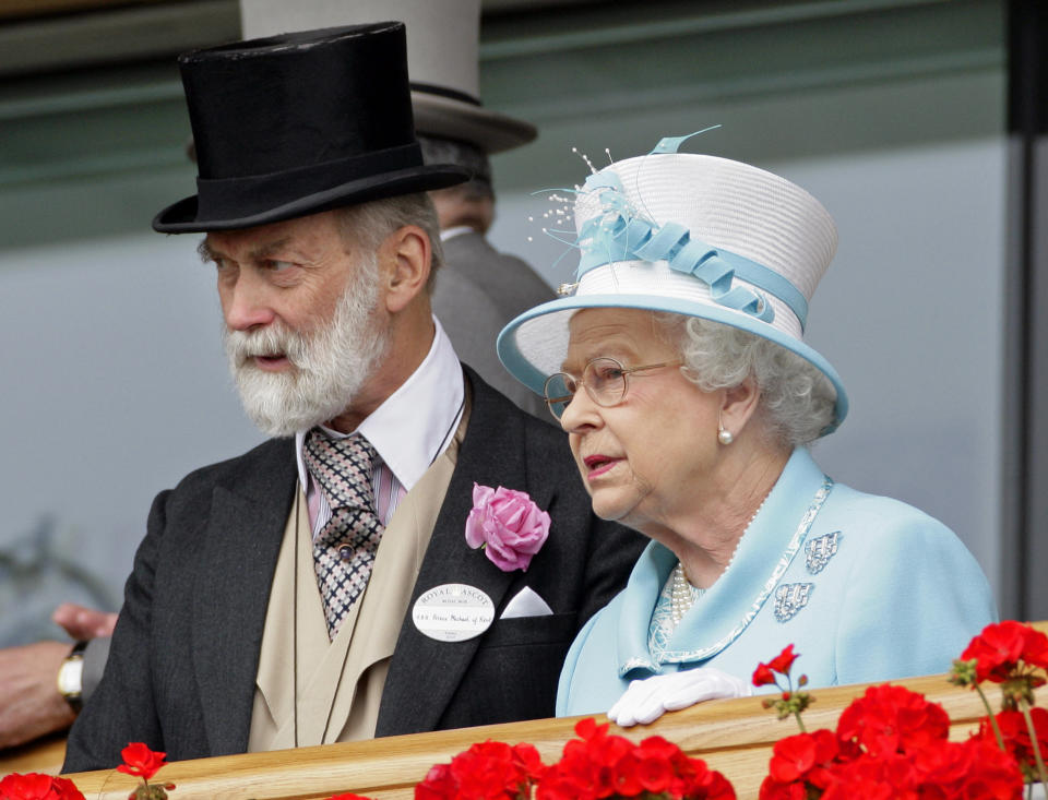 HRH Prince Michael of Kent and HM Queen Elizabeth II watch the horses in the parade ring as they attend day four of Royal Ascot at Ascot Racecourse on June 18, 2010 in Ascot, England. (Photo by Indigo/Getty Images)