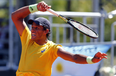 Brazil's Souza plays a shot during his Davis Cup tennis match against Argentina's Mayer in Buenos Aires