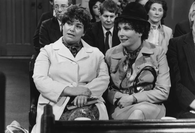 Comic actors Dawn French (left) and Jennifer Saunders in a sketch from the television comedy show 'French and Saunders', February 6th 1988. (Photo by Don Smith/Radio Times/Getty Images)
