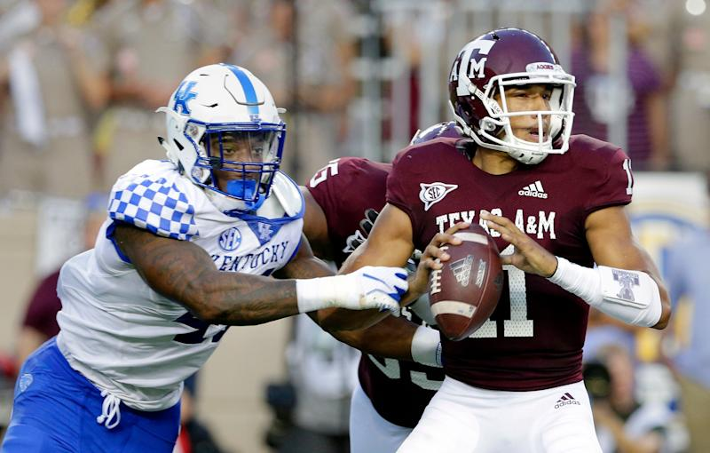 Kentucky linebacker Josh Allen (41) catches Texas A&M quarterback Kellen Mond (11) for a sack during the first half of an NCAA college football game Saturday, Oct. 6, 2018, in College Station, Texas. (AP Photo/Michael Wyke)