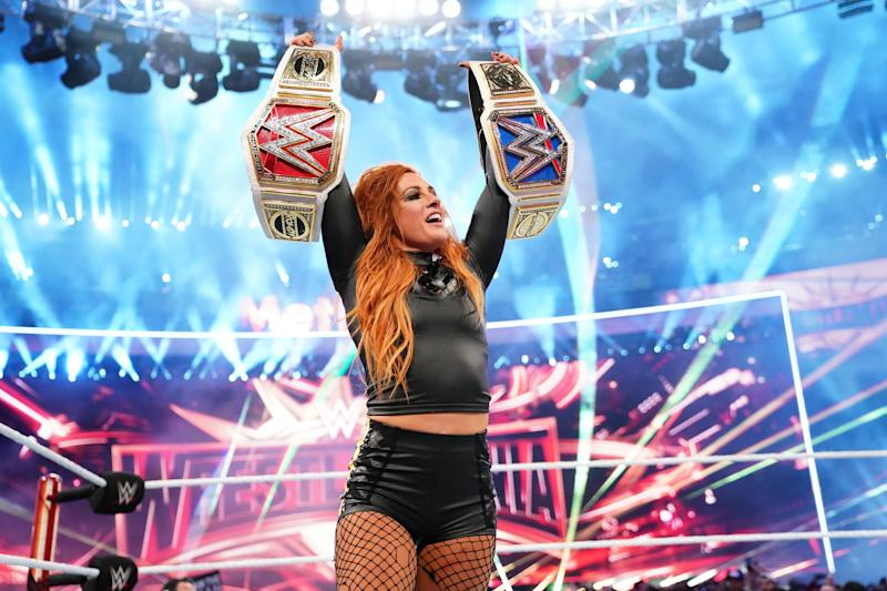 Becky Lynch celebrates at WrestleMania 35 at MetLife Stadium. (Photo courtesy of WWE)
