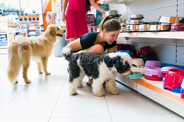 woman picking dog food bowl out with dog at pet store