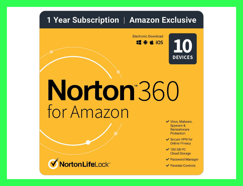 Save $92 on Norton 360 Antivirus software for 10 devices. (Photo: Amazon)