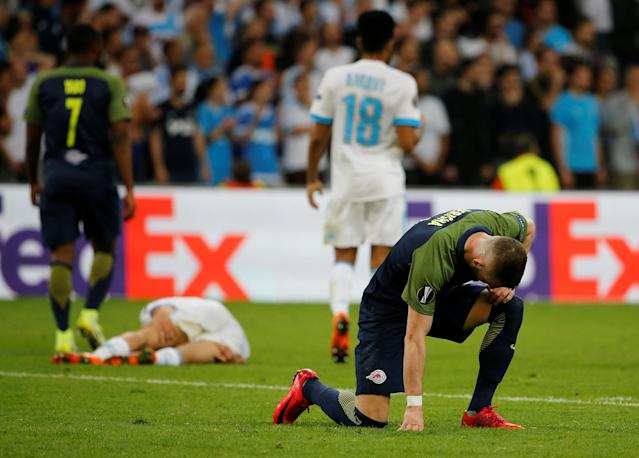 Soccer Football - Europa League Semi Final First Leg - Olympique de Marseille vs RB Salzburg - Orange Velodrome, Marseille, France - April 26, 2018 RB Salzburg's Valon Berisha looks dejected REUTERS/Jean-Paul Pelissier