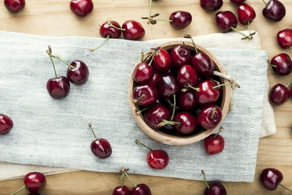 """<p>Cherries contain antioxidants like quercetin, which can help promote feelings of calmness. <a href=""""https://www.goodhousekeeping.com/health/diet-nutrition/g28511617/healthiest-fruits/"""" rel=""""nofollow noopener"""" target=""""_blank"""" data-ylk=""""slk:Eating more fruits"""" class=""""link rapid-noclick-resp"""">Eating more fruits</a> and veggies in general has also been <a href=""""https://www.ncbi.nlm.nih.gov/pmc/articles/PMC4940663/"""" rel=""""nofollow noopener"""" target=""""_blank"""" data-ylk=""""slk:linked"""" class=""""link rapid-noclick-resp"""">linked</a> to decreased symptoms of <a href=""""https://www.ncbi.nlm.nih.gov/pmc/articles/PMC6448040/"""" rel=""""nofollow noopener"""" target=""""_blank"""" data-ylk=""""slk:anxiety"""" class=""""link rapid-noclick-resp"""">anxiety</a> and depression and increased happiness levels. <a href=""""https://www.ncbi.nlm.nih.gov/pubmed/27400354/"""" rel=""""nofollow noopener"""" target=""""_blank"""" data-ylk=""""slk:Some studies"""" class=""""link rapid-noclick-resp"""">Some studies</a> have shown that eating five or more servings per day helps boost your mood, yet according to the <a href=""""https://www.cdc.gov/media/releases/2017/p1116-fruit-vegetable-consumption.html"""" rel=""""nofollow noopener"""" target=""""_blank"""" data-ylk=""""slk:Centers for Disease Control"""" class=""""link rapid-noclick-resp"""">Centers for Disease Control</a>, only 10% of Americans hit that recommendation.</p>"""