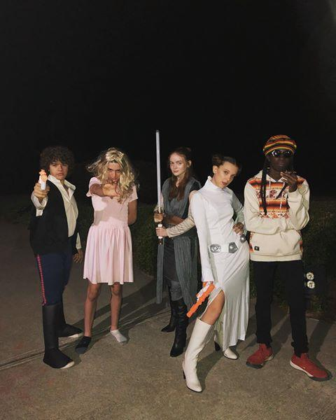 "<p>Casts who dress up together, stay together! The kids from <em>Stranger</em> <em>Things</em> spent Halloween as a crew and it was everything you've ever dreamed of. While Millie, Sadie, and Gaten joined up for a Star Wars costume, Noah Schnapp won the night by dressing up as Millie's character, Eleven, from the show. </p><p><a href=""https://www.instagram.com/p/BpnedP3h_Cf/?utm_source=ig_embed&utm_medium=loading"" rel=""nofollow noopener"" target=""_blank"" data-ylk=""slk:See the original post on Instagram"" class=""link rapid-noclick-resp"">See the original post on Instagram</a></p>"