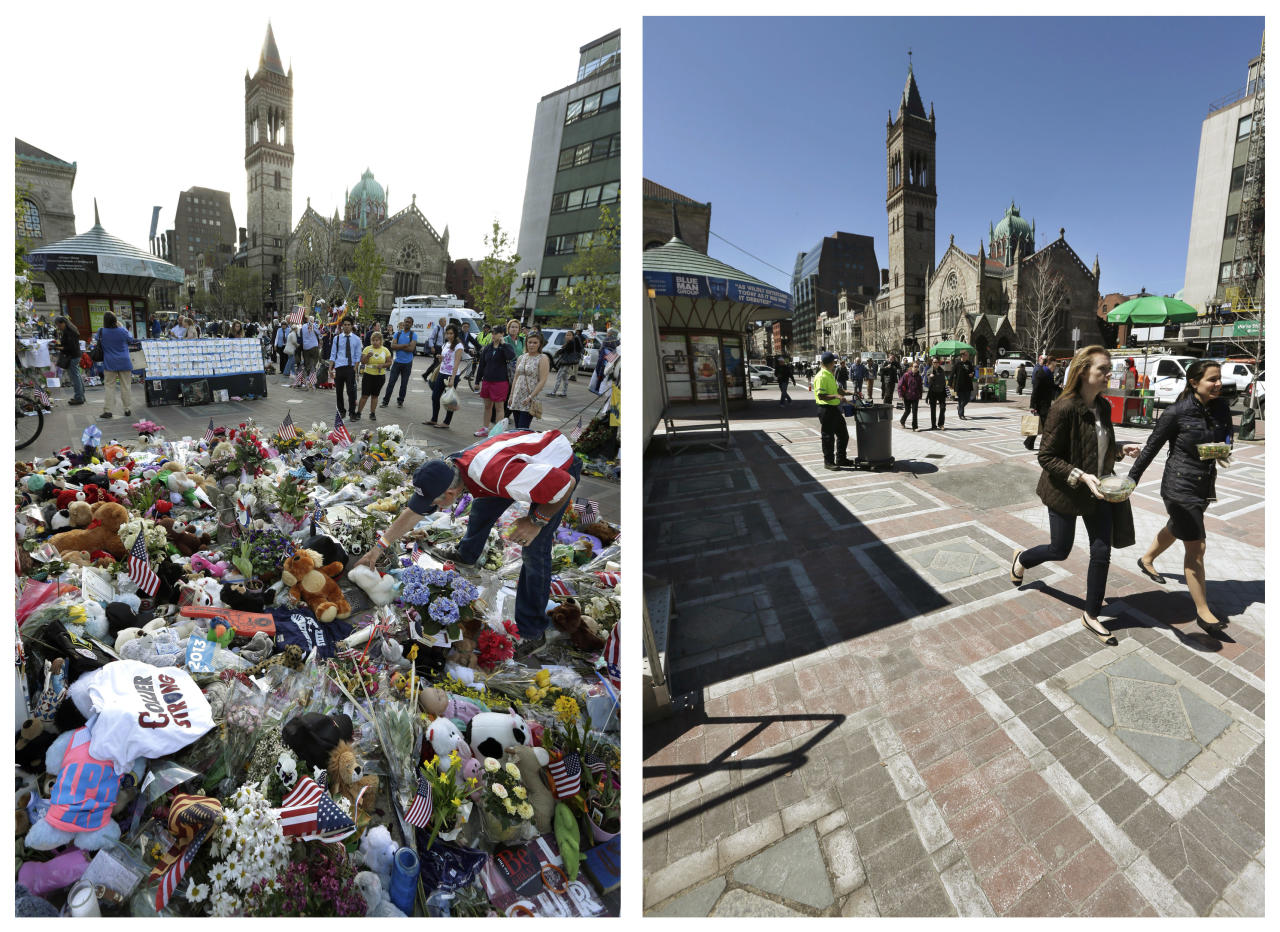 This combination of May 7, 2013 and April 10, 2014 photos shows Kevin Brown placing a Teddy bear at a makeshift memorial near the Boston Marathon finish line in Copley Square, and people walking through the same square at lunchtime nearly a year later in Boston. (AP Photo/Steven Senne)
