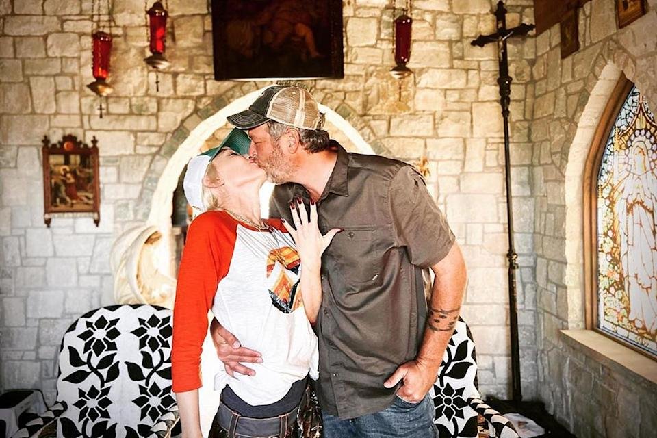 """<p>The couple <a href=""""https://people.com/music/gwen-stefani-blake-shelton-engaged/"""" rel=""""nofollow noopener"""" target=""""_blank"""" data-ylk=""""slk:announced their engagement"""" class=""""link rapid-noclick-resp"""">announced their engagement</a> on Oct. 27, with Stefani <a href=""""https://www.instagram.com/p/CG2tZeonC9m/?utm_source=ig_embed"""" rel=""""nofollow noopener"""" target=""""_blank"""" data-ylk=""""slk:sharing a photo of her ring"""" class=""""link rapid-noclick-resp"""">sharing a photo of her ring</a> alongside her new fiancé. The caption? A simple """"yes please! 💍🙏🏻""""</p> <p>Shelton shared the same post with a sweet caption of his own.</p> <p>""""Hey @gwenstefani thanks for saving my 2020... And the rest of my life."""" <a href=""""https://www.instagram.com/p/CG2uZYRoMoW/?igshid=s33bzcpx7yym"""" rel=""""nofollow noopener"""" target=""""_blank"""" data-ylk=""""slk:he wrote"""" class=""""link rapid-noclick-resp"""">he wrote</a>. """"I love you. I heard a YES!""""</p> <p>A source close to Stefani confirmed to PEOPLE that the two got engaged over the weekend of Oct. 17 in Oklahoma.</p>"""