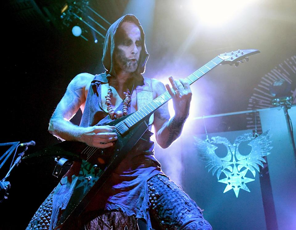 """Frontman Adam """"Nergal"""" Darski of Behemoth performs at The Joint inside the Hard Rock Hotel & Casino on 4 August, 2017 in Las Vegas, Nevada (Ethan Miller/Getty Images)"""