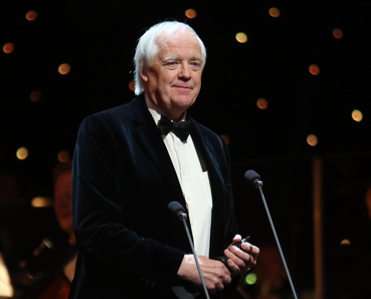LONDON, ENGLAND - APRIL 15:  (EXCLUSIVE COVERAGE) Tim Rice, winner of the Olivier Special Award, speak onstage at the 2012 Olivier Awards at The Royal Opera House on April 15, 2012 in London, England.  (Photo by Tim Whitby/Getty Images)