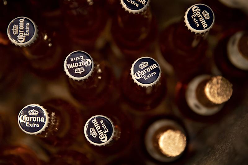 Bottles of Constellation Brands Inc. Corona beer sit in the cooler of a bar in Ottawa Illinois U.S. on Tuesday