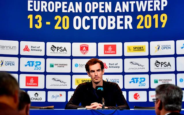 Andy Murray addresses the media ahead of the European Open getting underway in Antwerp - AFP