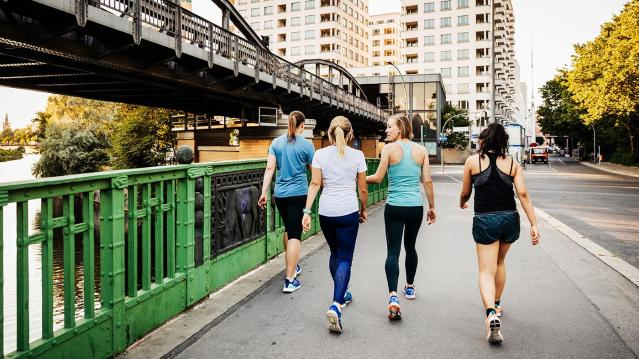 Walking in a group is a chance to make new friends and help lower stress levels