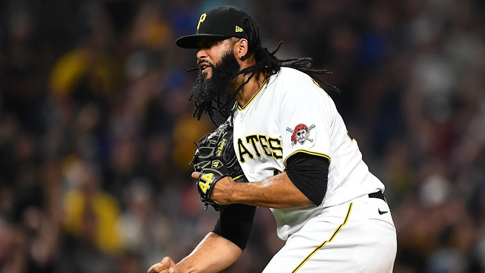 PITTSBURGH, PA - JUNE 18:  Richard Rodriguez #48 of the Pittsburgh Pirates celebrates after a 11-10 win over the Cleveland Indians. (Photo by Joe Sargent/Getty Images)