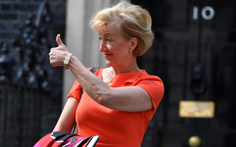 Andrea Leadsom, Lord President of the Council and Leader of the House of Commons, gestures as she leaves No 10 Downing Street in central London on June 11, 2017 - AFP