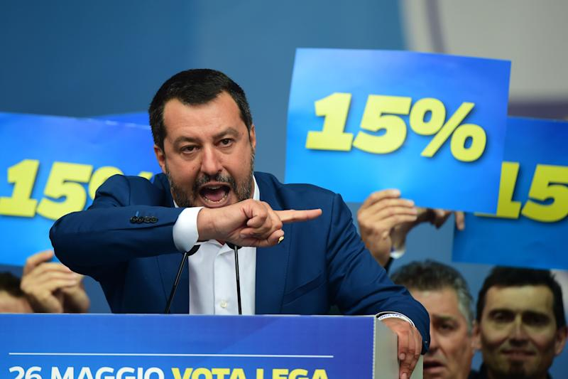Leader of Northern League party, Matteo Salvini speaks during demonstration ahead of the European elections in Piazza Duomo on May 18, 2019 in Milan, Italy. (Photo: Pier Marco Tacca/Getty Images)