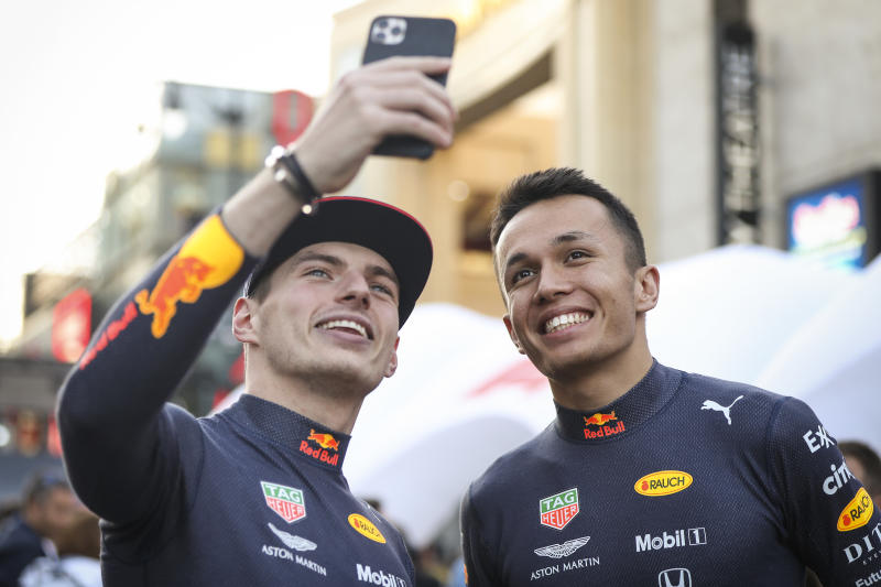 HOLLYWOOD, CALIFORNIA - OCTOBER 30: Alexander Albon of Thailand and Max Verstappen of Netherlands and Red Bull Racing participates in the F1 Hollywood Festival on October 30, 2019 in Hollywood, California. (Photo by Meg Oliphant/Getty Images for Red Bull)