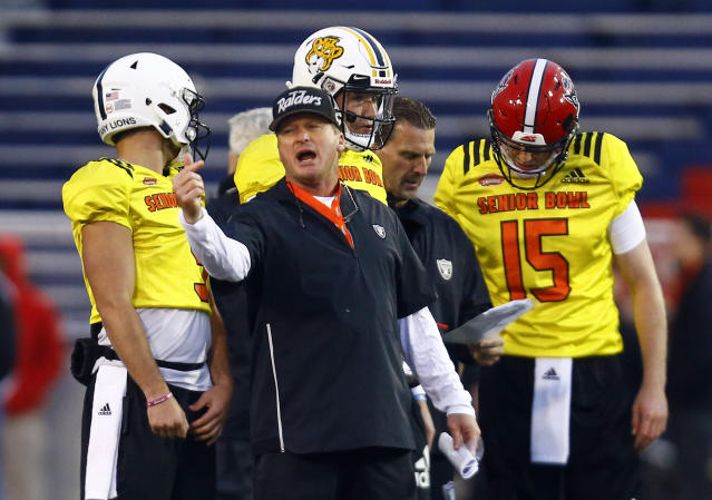 North head coach Jon Gruden of the Oakland Raiders instructs players during practice. (AP)