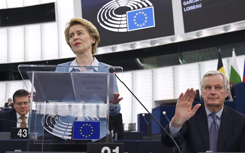 Michel Barnier (right) was a contender to succeed Jean-Claude Juncker as president of the European Commission last year. The job went to Ursula von der Leyen (left) instead. - AFP