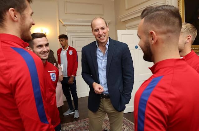 LONDON, ENGLAND - SEPTEMBER 07: Prince William, Duke of Cambridge, President of the Football Association, speaks with players as he hosts a reception for the Under-20 England Football Team at Kensington Palace on September 7, 2017 in London, England. The England Under-20 side became the first England team to win a football World Cup since 1996 when they beat Venezuela 1-0 on June 11th, 2017. (Photo by Chris Jackson - WPA Pool/Getty Images)