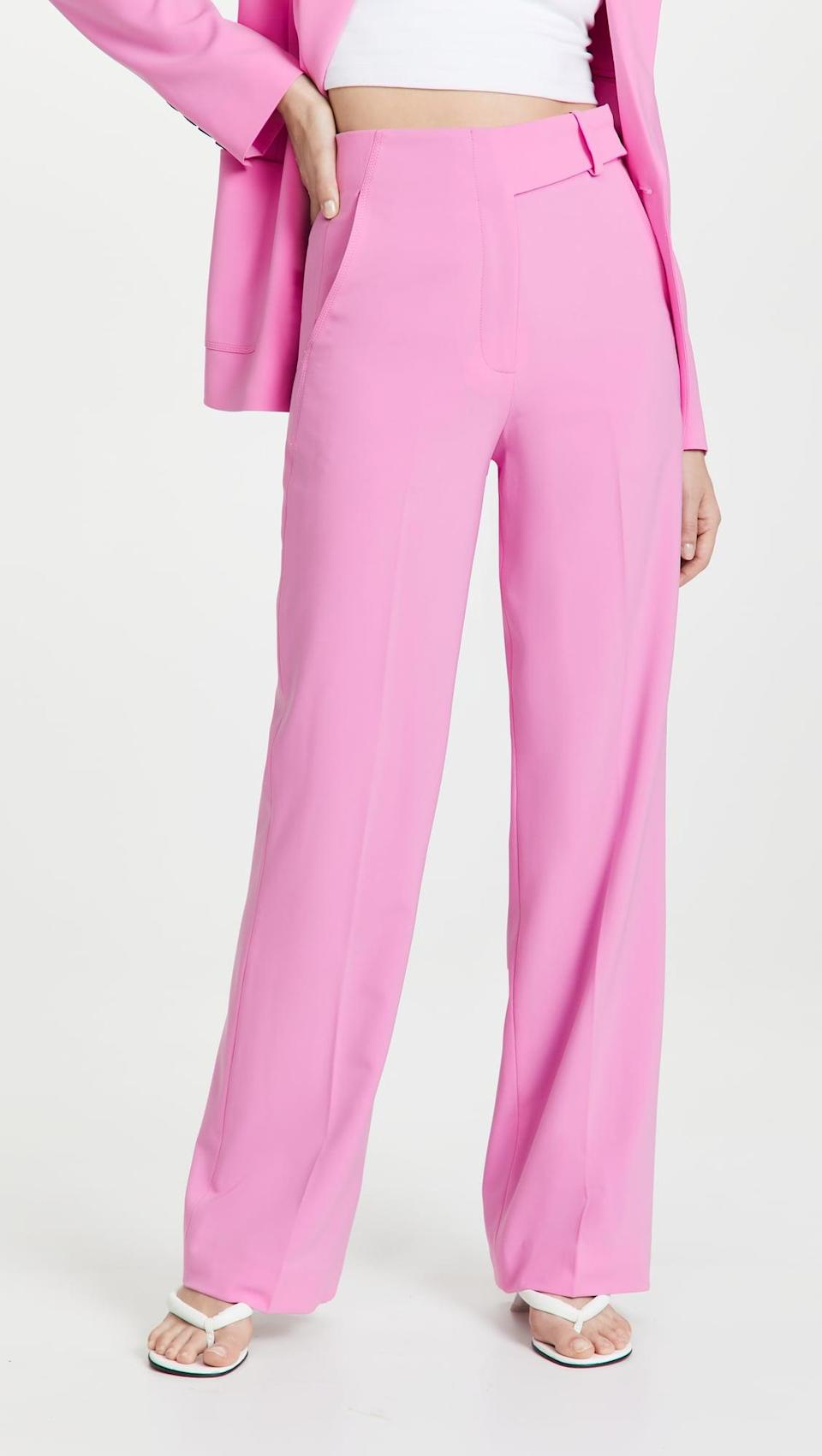 <p>If you're looking for something vibrant this fall, we suggest the <span>Jonathan Simkhai Sunny Eco Twill Combo Tailored Wide Leg Pants</span> ($495). The hot pink shade will look so cute with sweats and sneakers.</p>