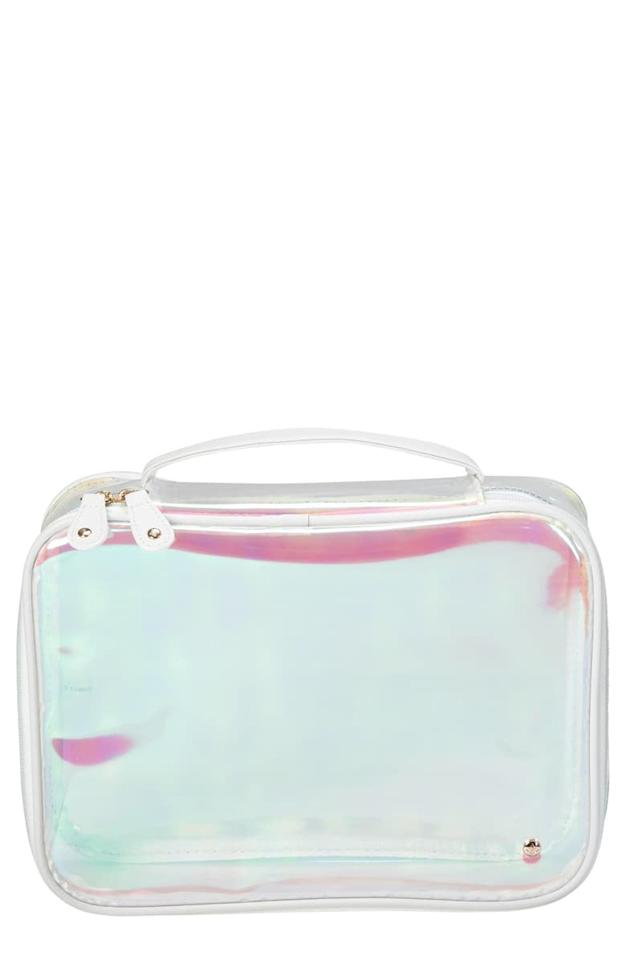 "<p>This holographic <a href=""https://www.popsugar.com/buy/Stephanie-Johnson-Claire-Miami-Dragonfly-Jumbo-Makeup-Case-545313?p_name=Stephanie%20Johnson%20Claire%20Miami%20Dragonfly%20Jumbo%20Makeup%20Case&retailer=shop.nordstrom.com&pid=545313&price=45&evar1=travel%3Aus&evar9=46507276&evar98=https%3A%2F%2Fwww.popsugar.com%2Fphoto-gallery%2F46507276%2Fimage%2F46507427%2FStephanie-Johnson-Claire-Miami-Dragonfly-Jumbo-Makeup-Case&list1=shopping%2Ctravel%2C50%20under%20%2450%2Ctravel%20goods%2Ctravel%20hacks%2Caffordable%20shopping&prop13=api&pdata=1"" rel=""nofollow"" data-shoppable-link=""1"" target=""_blank"" class=""ga-track"" data-ga-category=""Related"" data-ga-label=""https://shop.nordstrom.com/s/stephanie-johnson-claire-miami-dragonfly-jumbo-makeup-case/5425742/full?origin=coordinating-5425742-0-2-PDP_1.PDP_1_DEFAULT-recbot-also_viewed&amp;recs_placement=PDP_1.PDP_1_DEFAULT&amp;recs_strategy=also_viewed&amp;recs_source=recbot&amp;recs_page_type=product&amp;recs_seed=5425750"" data-ga-action=""In-Line Links"">Stephanie Johnson Claire Miami Dragonfly Jumbo Makeup Case</a> ($45) is so much fun and will hold everything you need.</p>"