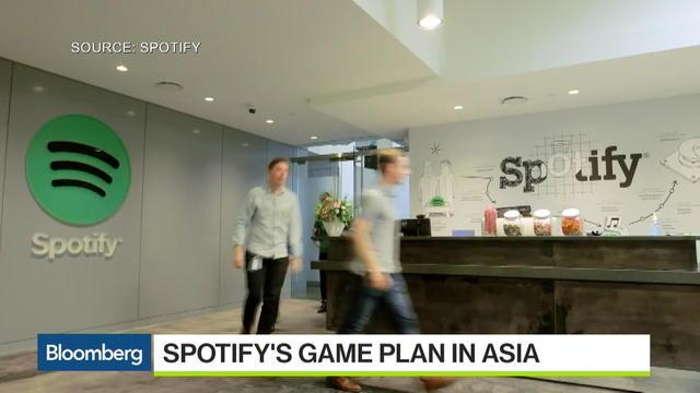 "Sept. 28 -- Bloomberg's Yuji Nakamura reports on Spotify's game plan in Asia on ""Bloomberg West."" (Source: Bloomberg)"