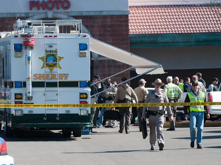 <p>The aftermath of Gabrielle Giffords's shooting in Tucson, 2011</p>EPA
