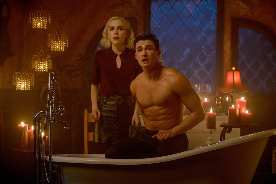 """<p>The same showrunner who brought you <strong><a class=""""link rapid-noclick-resp"""" href=""""https://www.popsugar.co.uk/Riverdale"""" rel=""""nofollow noopener"""" target=""""_blank"""" data-ylk=""""slk:Riverdale"""">Riverdale</a></strong> has remixed <strong>Sabrina the Teenage Witch</strong> with a dark twist. As Sabrina approaches her 16th birthday, she struggles to balance her destiny to be a witch with her normal human life.</p> <p><a href=""""https://www.netflix.com/title/80223989"""" class=""""link rapid-noclick-resp"""" rel=""""nofollow noopener"""" target=""""_blank"""" data-ylk=""""slk:Watch Chilling Adventures of Sabrina on Netflix now"""">Watch <strong>Chilling Adventures of Sabrina</strong> on Netflix now</a>.</p>"""