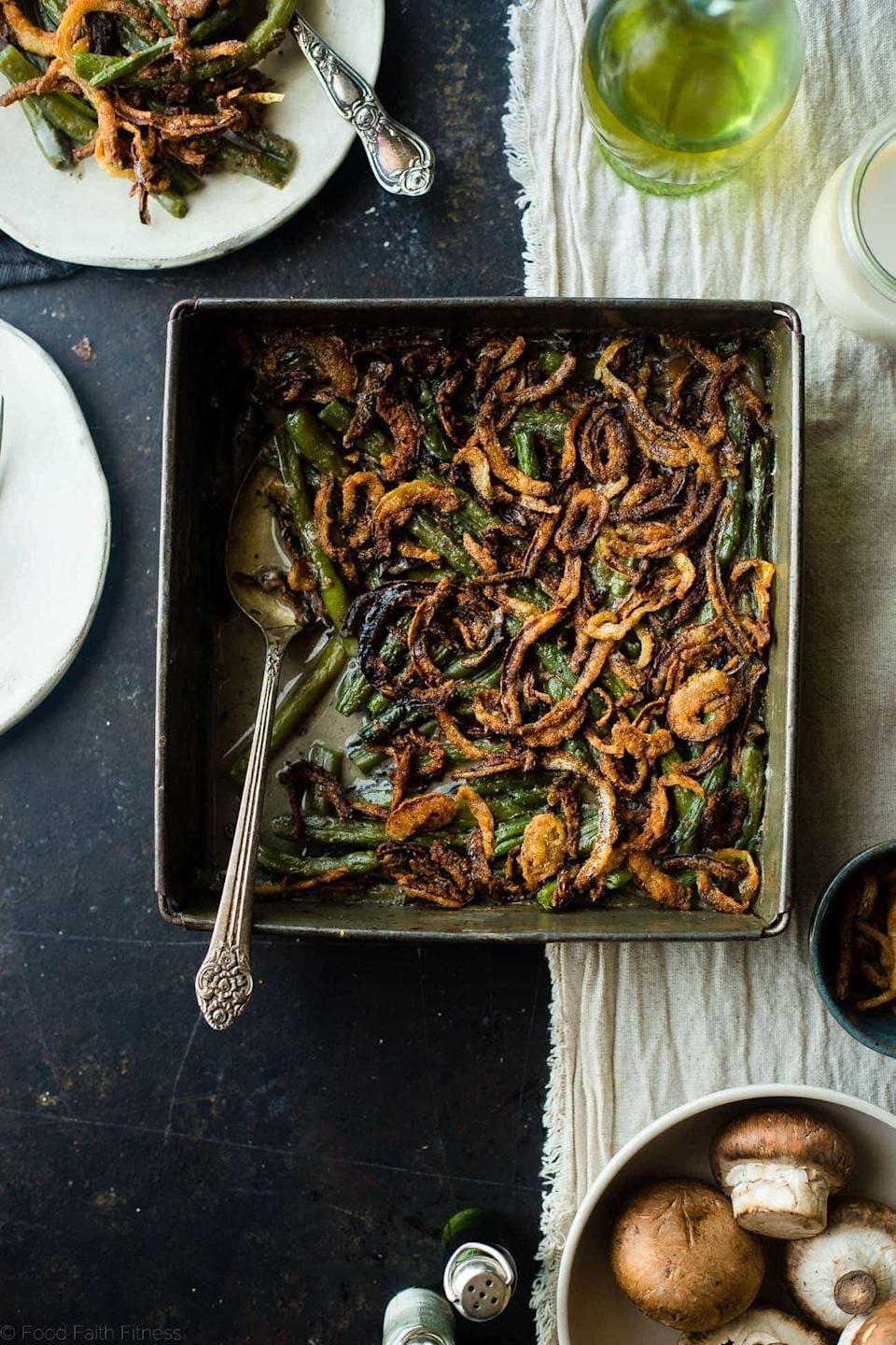 """<p>With such rich and vibrant flavors, you'll be shocked to know that this recipe is dairy-free, vegan, gluten-free, <em>and</em> paleo friendly! You'll still be getting all your favorite casserole flavors just without the not-so-good-for-you ingredients. Need we say more?</p> <p><strong>Get the recipe</strong>: <a href=""""https://www.foodfaithfitness.com/healthy-vegan-green-bean-casserole/"""" class=""""link rapid-noclick-resp"""" rel=""""nofollow noopener"""" target=""""_blank"""" data-ylk=""""slk:dairy-free vegan green bean casserole"""">dairy-free vegan green bean casserole</a></p>"""