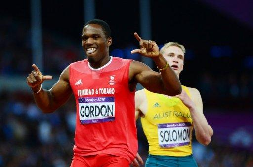 Trinidad and Tobago's Lalonde Gordon recats after competing in the men's 400m semi-finals at the athletics event during the London 2012 Olympic Games, on August 5. The final takes place on Monday